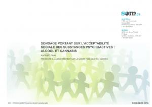 Sondage portant sur l'acceptabilité sociale des substances psychoactives: alcool et cannabis