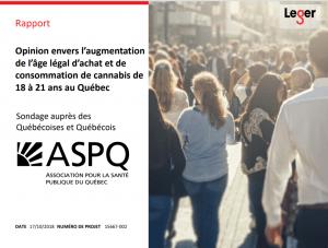 Sondage ASPQ-Léger portant sur certains aspects de la légalisation du cannabis au Québec